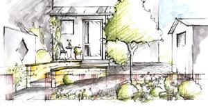 Skizze der Vorgartengestaltung