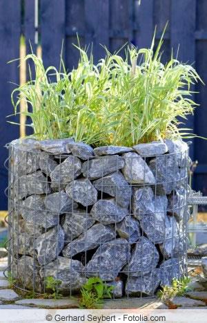 Hochbeet aus Stein-Gabionen